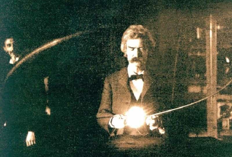 Twain nel laboratorio di Tesla a New York